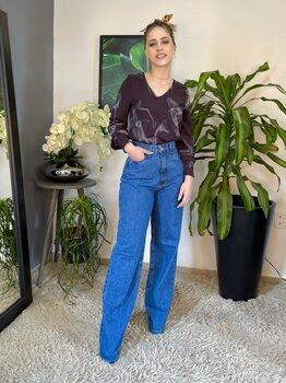 Calça Jeans Azul Feminina Wide Leg
