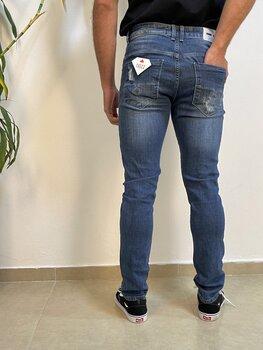 Calça Jeans Azul Médio Estonado Slim Masculina