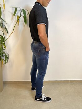 Calça Jeans Skinny Azul Médio Estonada Masculina